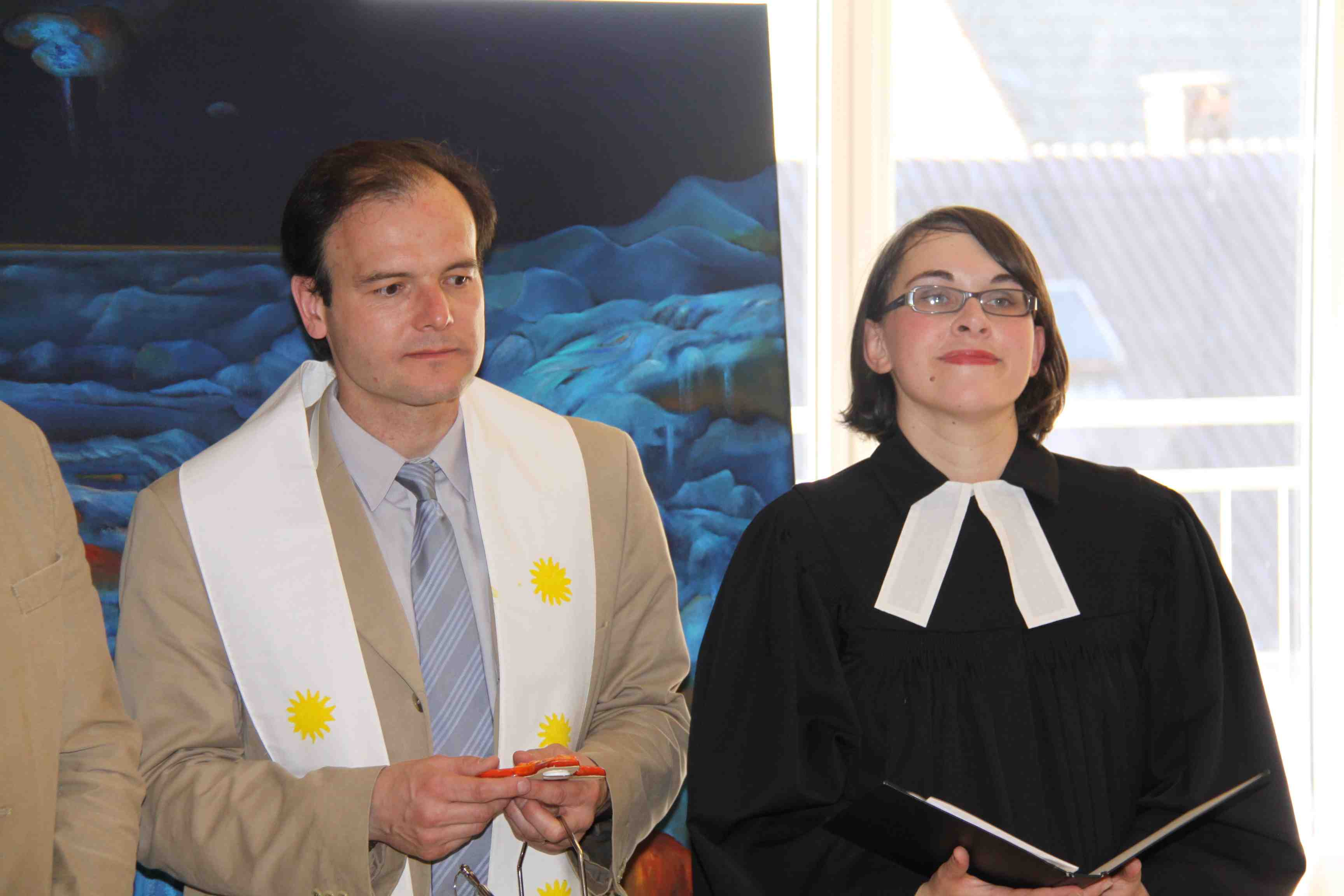 Pater Mag. Gabriel Kozuch, Pfarrerin Mag. Iris Haidvogel